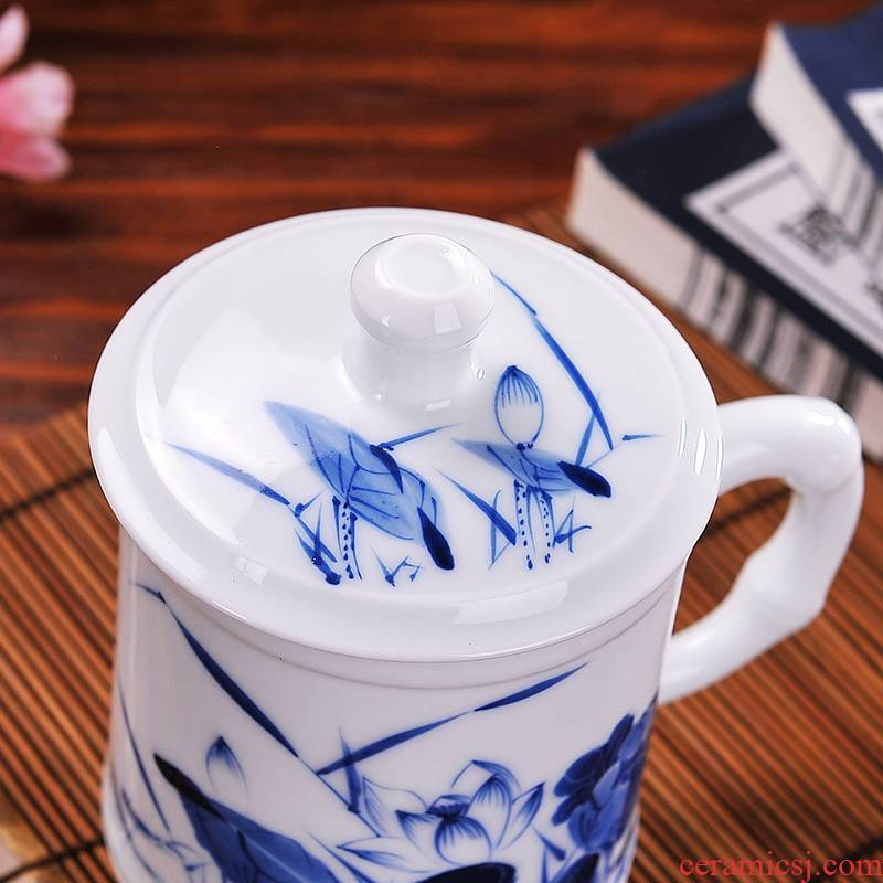 Qiao mu CMK jingdezhen hand - made ceramic man a cup of tea cups personal office of bamboo cup with cover glass