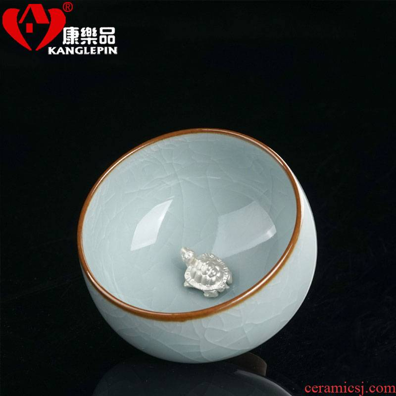 Recreation is tasted your up kung fu tea cups, open the slice with silver azure ocean 's CPU master cup sample tea cup ceramic cup