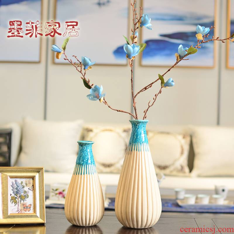 New Chinese style restoring ancient ways zen ceramic dry flower is placed modern vase sitting room porch flower arranging household craft ornaments