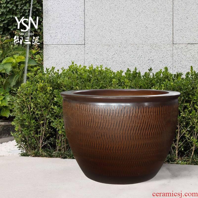 Royal three jingdezhen ceramic mud jump knife carving courtyard tank aquarium hydroponic water lily lotus garden hotel