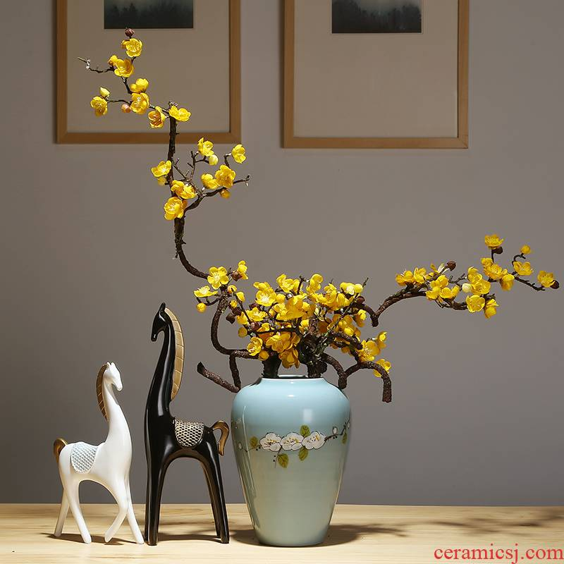 Jingdezhen ceramics vase modern new sitting room porch dried flowers flower arrangement of Chinese style household adornment furnishing articles suit