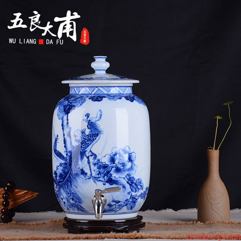 Jingdezhen ceramic altar empty mercifully 15 kg big jars it liquor jugs hand - made porcelain household seal wine jar