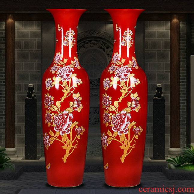 Rich of large vase furnishing articles red flowers open China jingdezhen ceramics high temperature home sitting room hotel feng shui