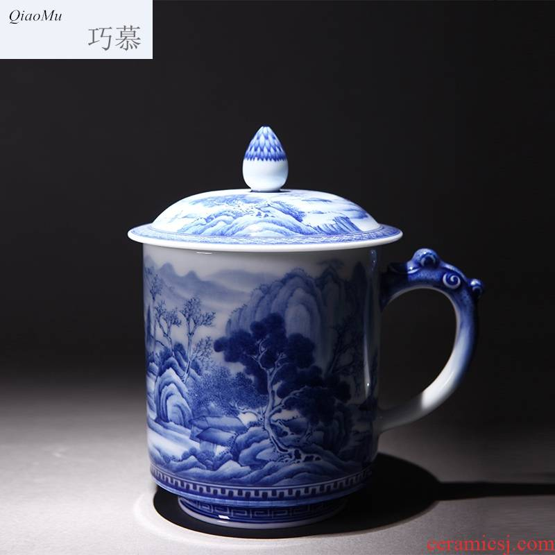 Qiao mu ceramic kung fu tea cups jingdezhen blue and white painting landscape hand - made office cup sample tea cup with cover cups