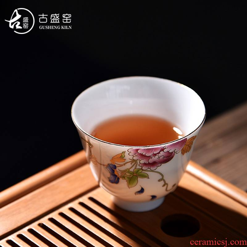 New elegant ancient sheng up with jingdezhen ceramic hand - made colored enamel small bowl sample tea cup master cup single CPU