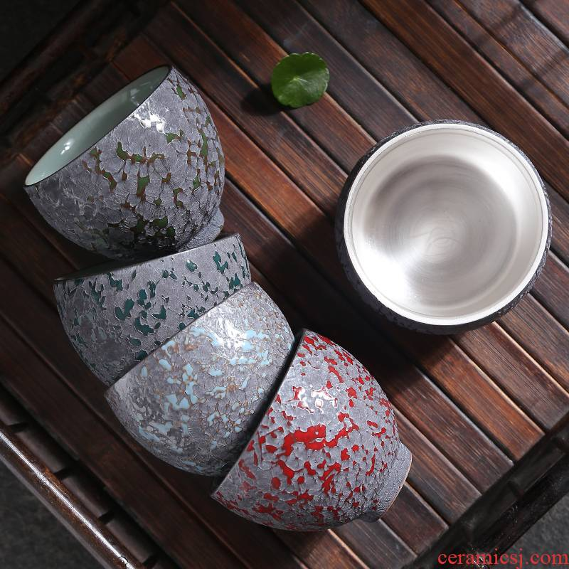 999 sterling silver master cup silver cup bladder ceramic sample tea cup single cup of tea with silver, pure manual kung fu tea bowls