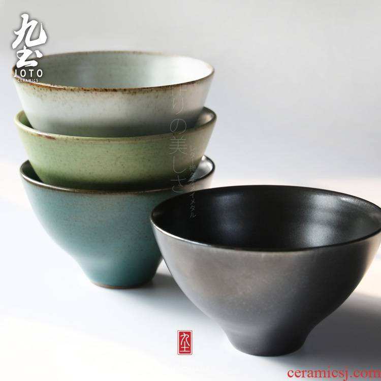 About Nine soil coarse pottery checking pottery bowl of Japanese cuisine tableware bowls of multicolor feeder household rice bowl dessert bowl of beef noodles in soup bowl