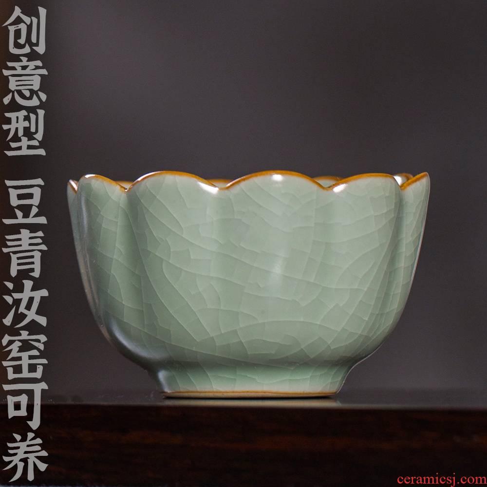 24 is pea green, ru up market metrix who single CPU kung fu tea tea cup of jingdezhen ceramic tea set light by hand