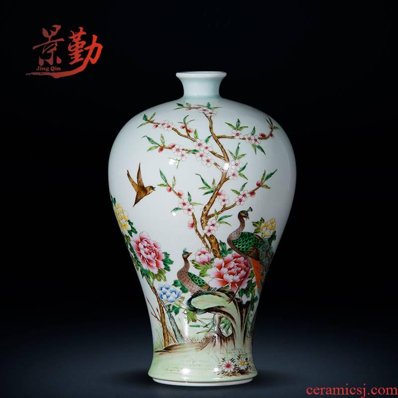 Jingdezhen ceramics antique green hand powder enamel glaze vase mei bottles of domestic act the role ofing handicraft furnishing articles