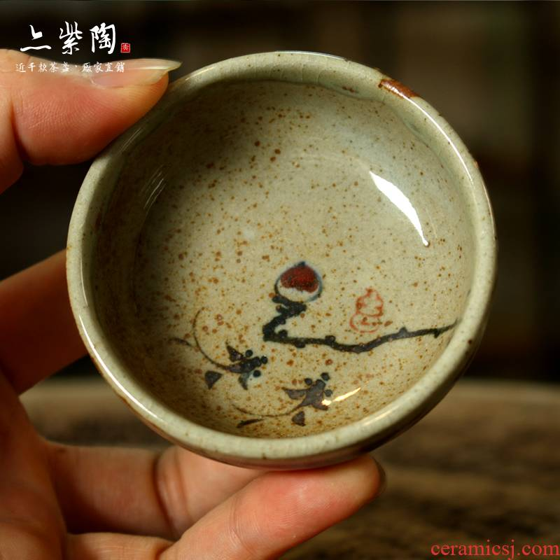 Purple pottery of kung fu tea set ceramic cups coarse pottery hand - made up to burn glair puer tea cups of tea