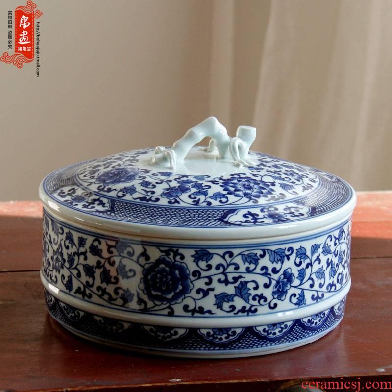 Shadow enjoy | jingdezhen ceramics hand - made the design of blue and white porcelain tea pot handle tea machine manual porcelain JH