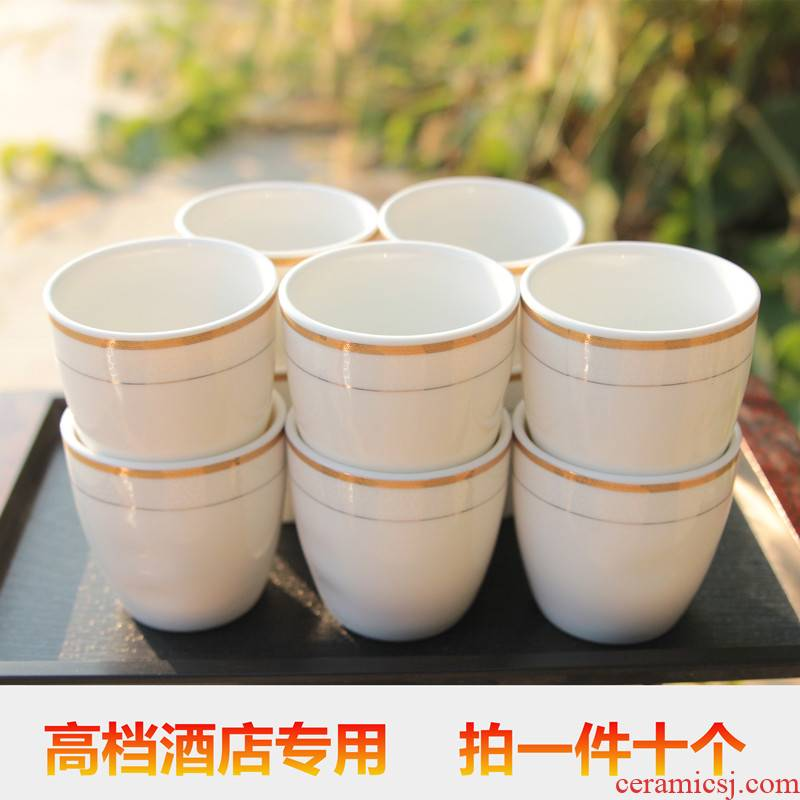 Ten ceramic hotel hotel tableware ultimately responds wine glass cup three two small blue and white pure white household up phnom penh