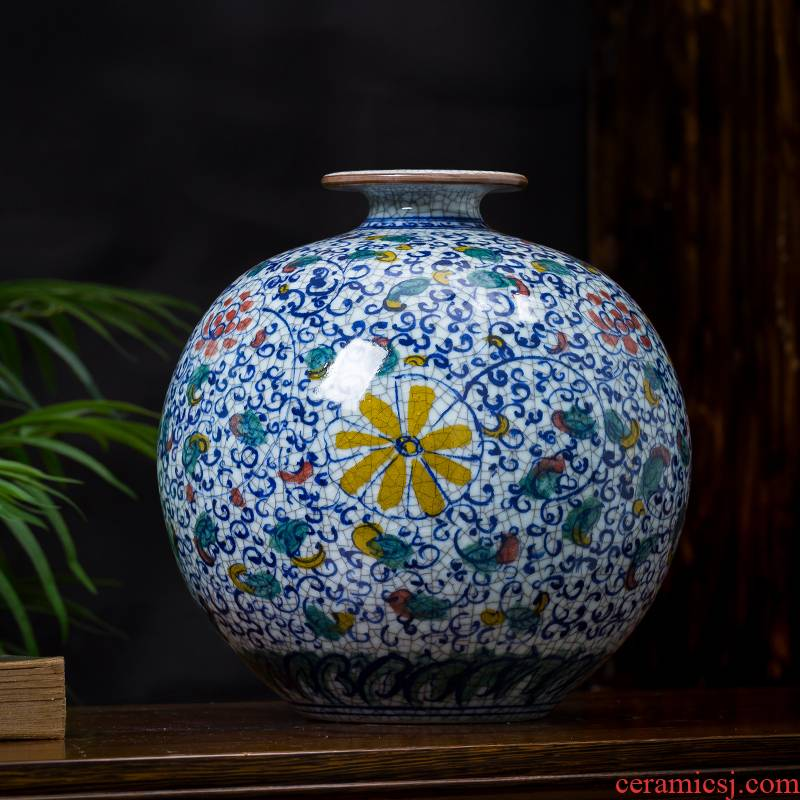 Jingdezhen ceramics hand - made archaize up the bucket color vase living room TV cabinet decoration of Chinese style household furnishing articles