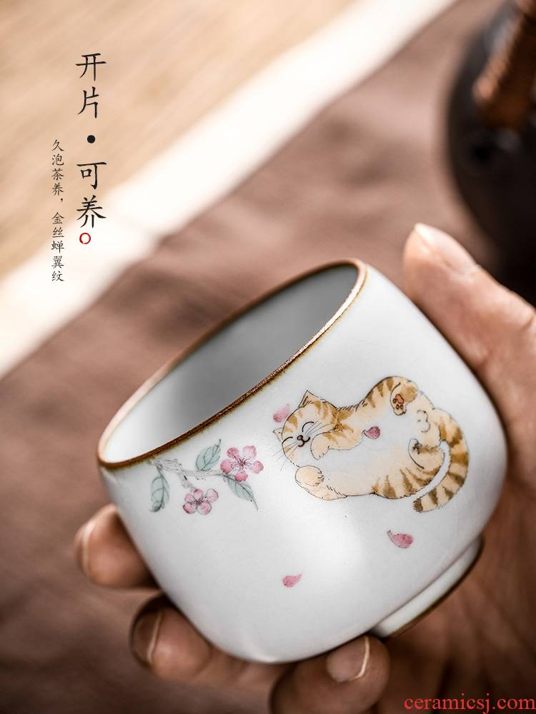 Jingdezhen hand - made master cup single CPU female ceramic cups cat sample tea cup pure manual your up kung fu tea set
