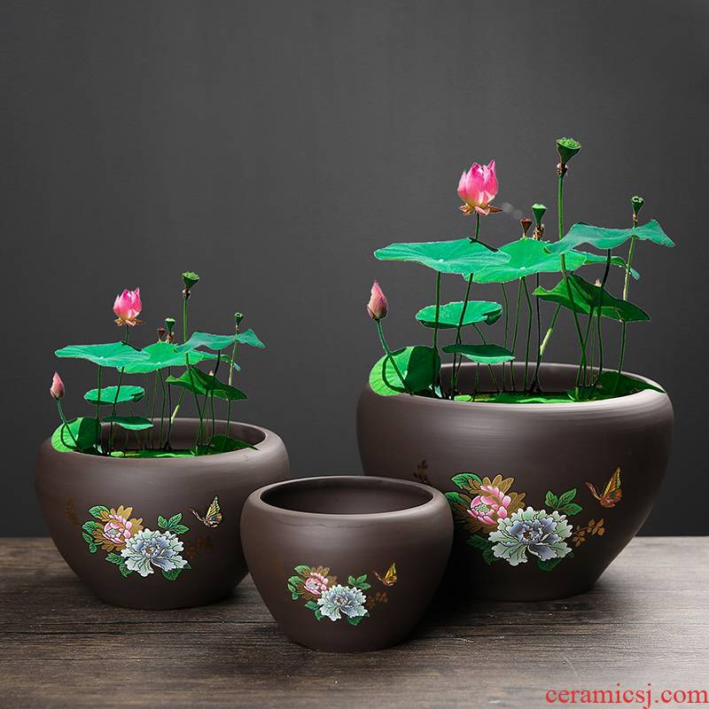 Copper grass ceramic hydroponic flower POTS bowl lotus leaf, lotus grass daffodils money dedicated nonporous large clearance more meat