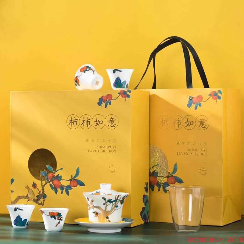 Jingdezhen ceramic tea set home three just kunfu tea tureen tea white porcelain teacup office receive a visitor the ritual