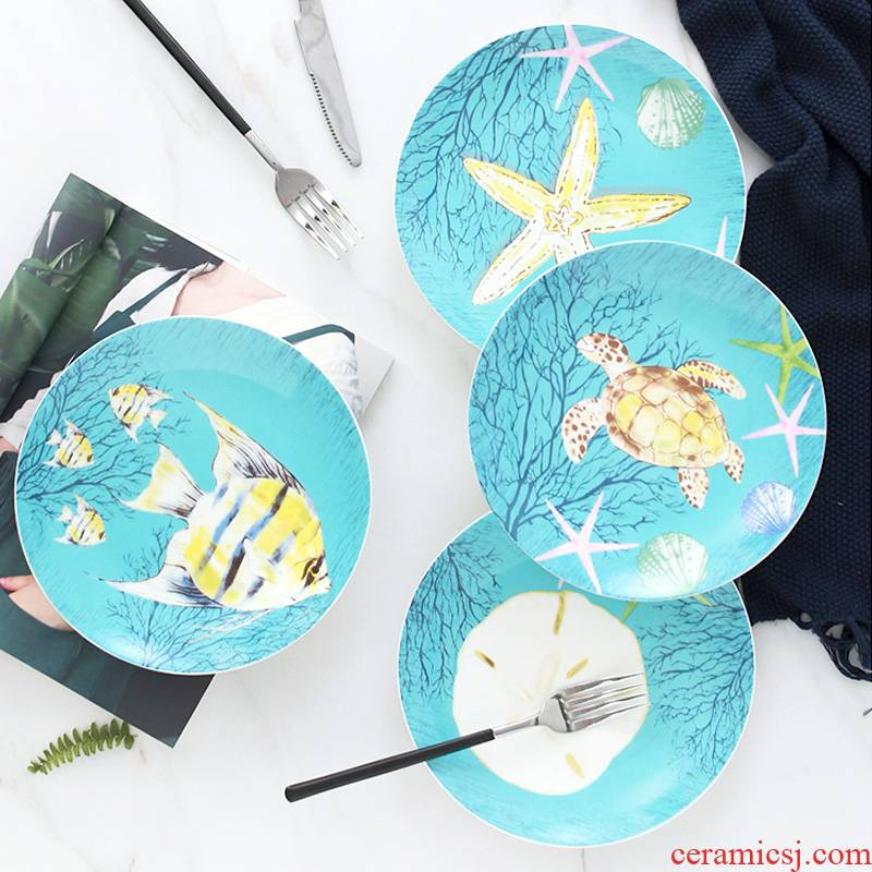 Dish Dish Dish household steak western food ceramic tableware, lovely children 's creative cartoon fruit bowl round plate