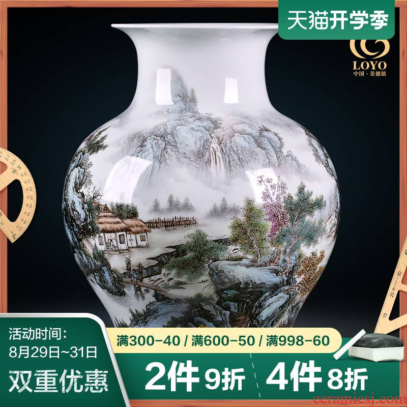 Jingdezhen ceramics vase famous hand - made famille rose porcelain of the sitting room of Chinese style household porch place housewarming gift
