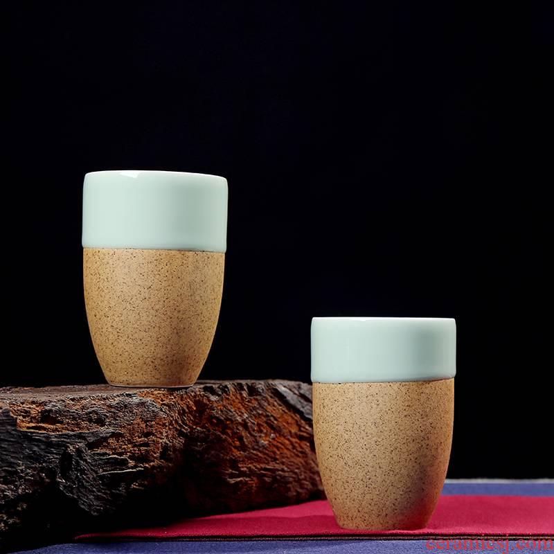 Large ceramic cup celadon coarse pottery teacup personal ceramic cup cup big cup 250 ml single cup tea cups
