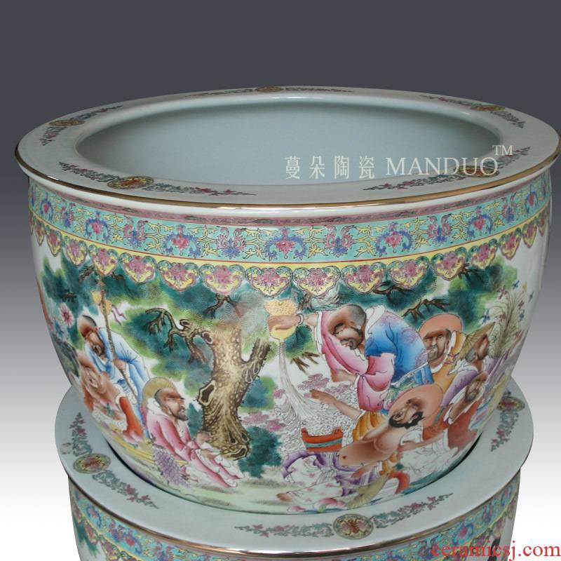 Jingdezhen manual painting enamel 18 arhats VAT fine porcelain enamel characters, vats