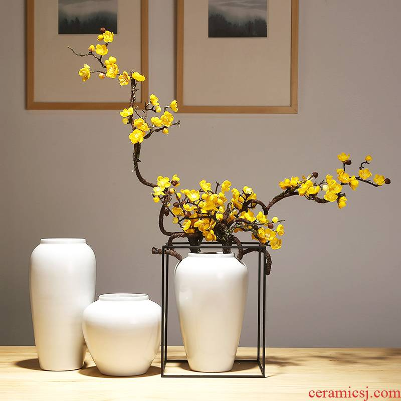 Jingdezhen modern ideas of new Chinese style porch vases, flower arranging white contracted household ceramics decoration the set piece