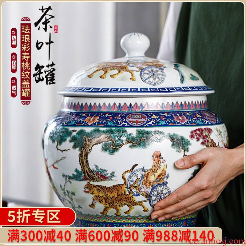 Jingdezhen pastel storage tank checking ceramic with cover grain in traditional Chinese medicine food rice, cooking pot pot furnishing articles