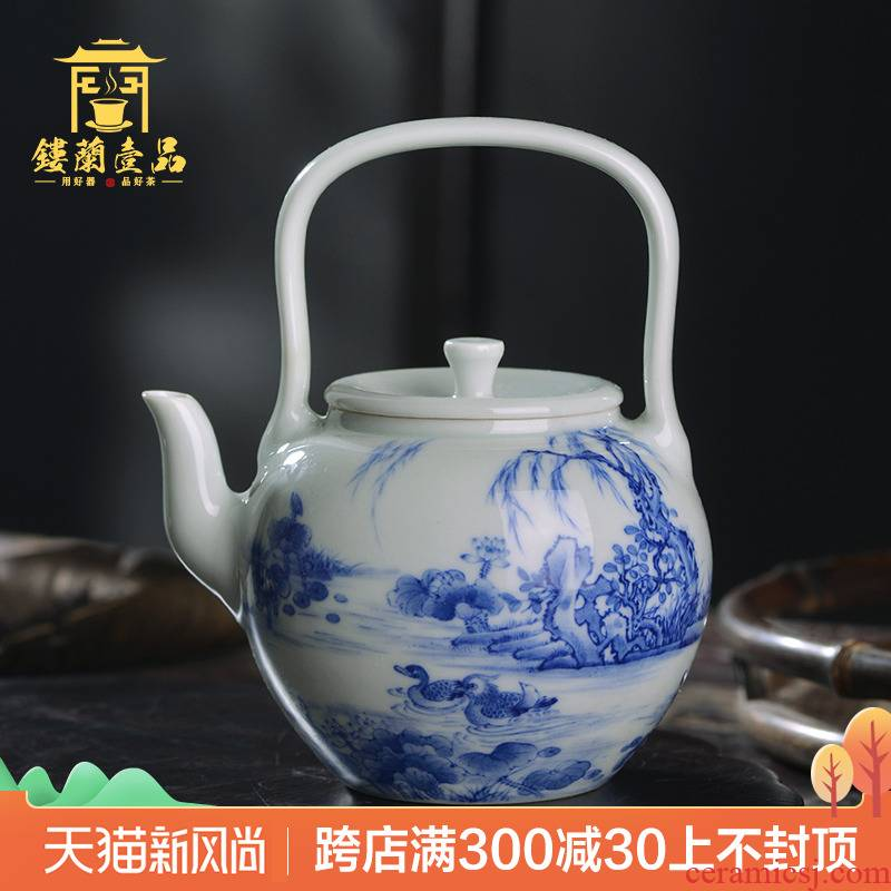 All hand pot of jingdezhen blue and white girlfriend girder ceramic tea set teapot large - capacity single pot, kettle