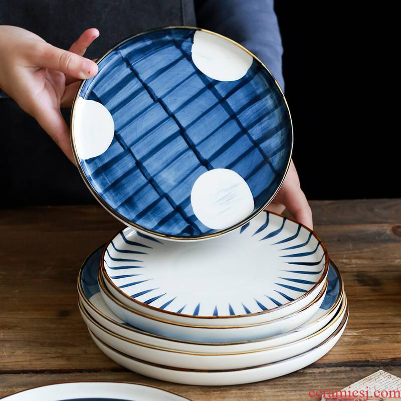 Japanese hand - made ceramic creative household food dish northern wind plate disc large deep dish hand - made color glaze