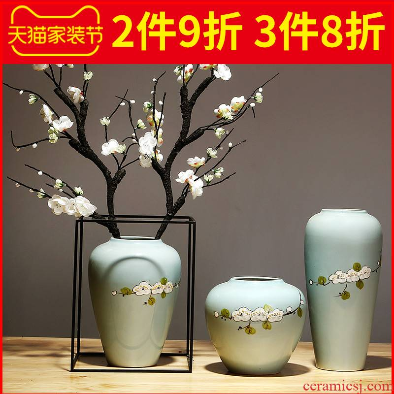 Jingdezhen ceramics vase modern furnishing articles suit sitting room porch dried flowers flower arrangement of Chinese style household decorations