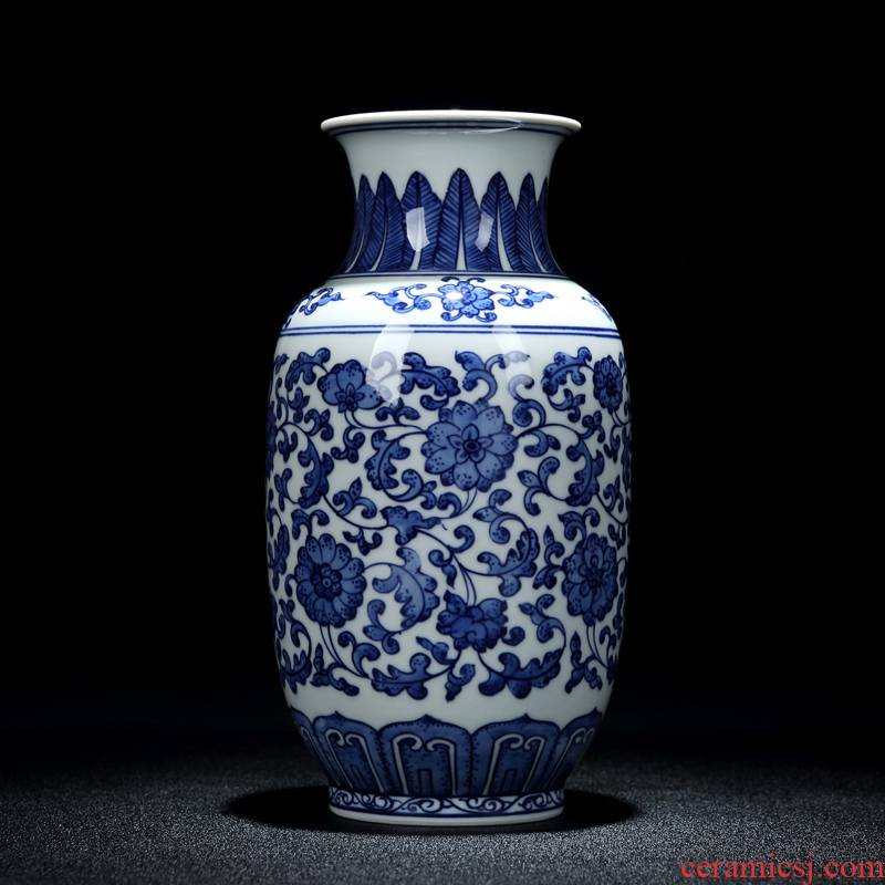Jingdezhen ceramic vases, blue and white Chinese large sitting room adornment table decorations furnishing articles furnishing articles antique vases