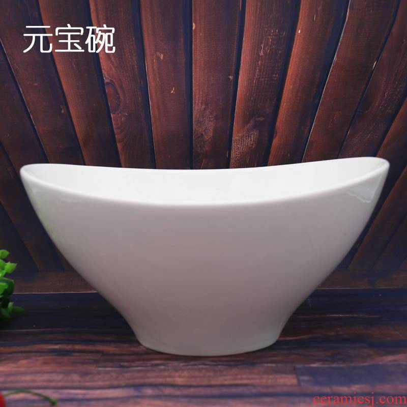 Characteristics of ceramic bowl home hotel tableware pure white soup bowl creative salad bowl dish dish stove cold dish bowl