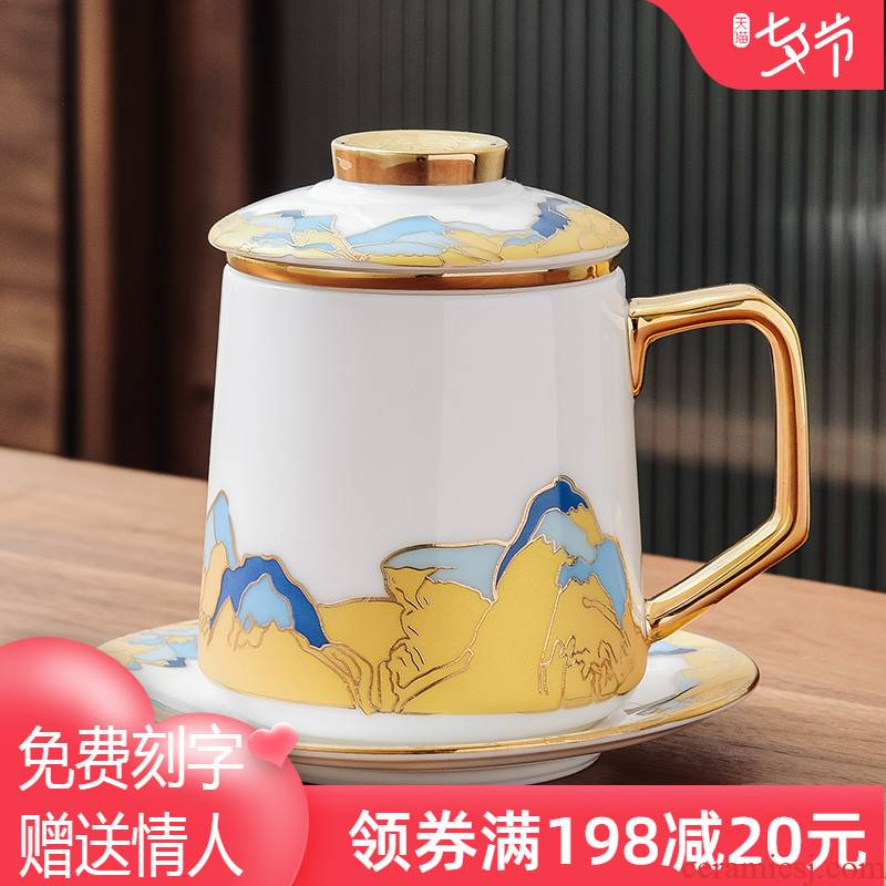 Dehua white porcelain ceramic cups tea cups of tea cup office separation of high - grade glass cup filter cup men and women