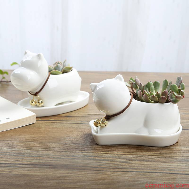 Express cartoon fleshy flowerpot trumpet plant white ceramic creative move contracted special offer a clearance package mail thumb