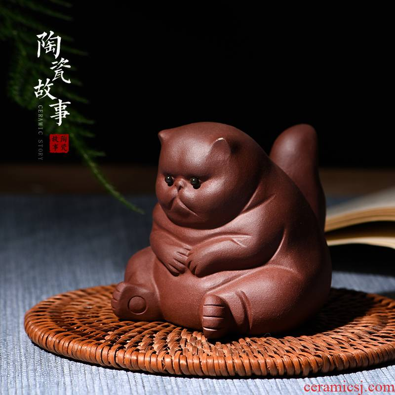 Ceramic story of pet cat violet arenaceous tea to keep fine tea tea tea table furnishing articles zen kung fu tea accessories