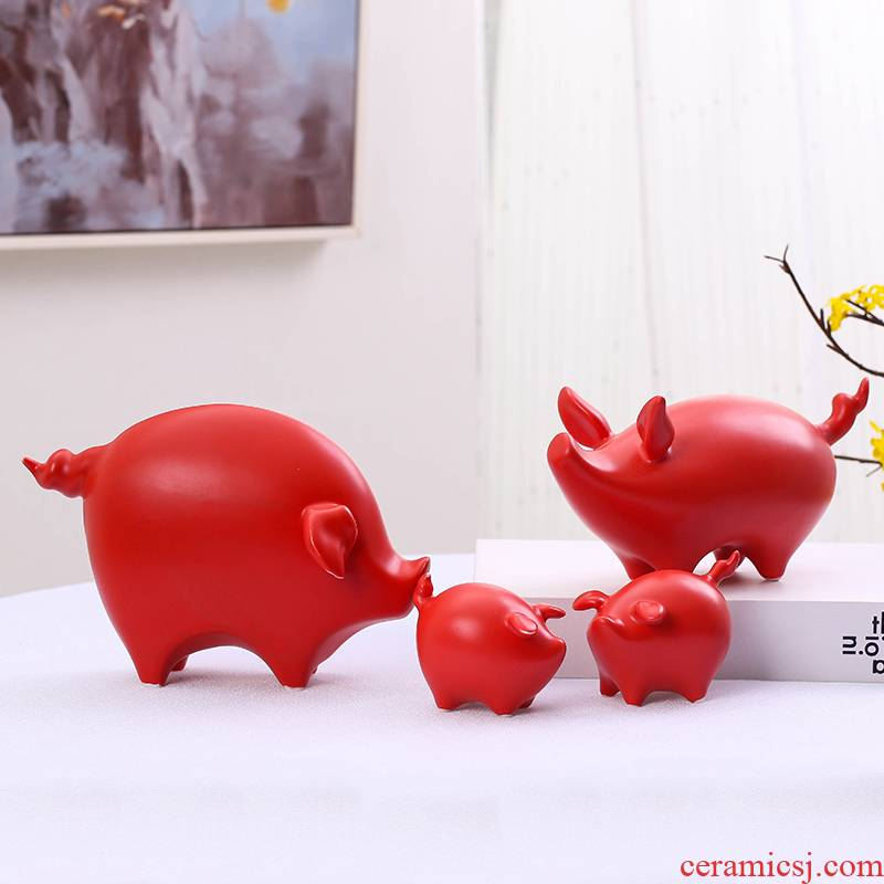 Jingdezhen ceramics during the red pig baby small ornament household act the role ofing is tasted the Chinese zodiac features of creative decoration