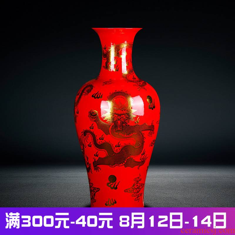 Jingdezhen ceramics vase high see dragon sitting room large Chinese style household furnishing articles furnishing articles set red and black porch