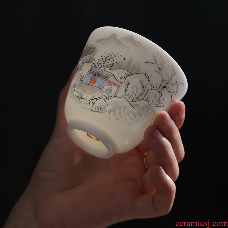 Hand - made master kung fu tea cup suet jade white porcelain single cup tea cups sample tea cup ceramic bowl tea set
