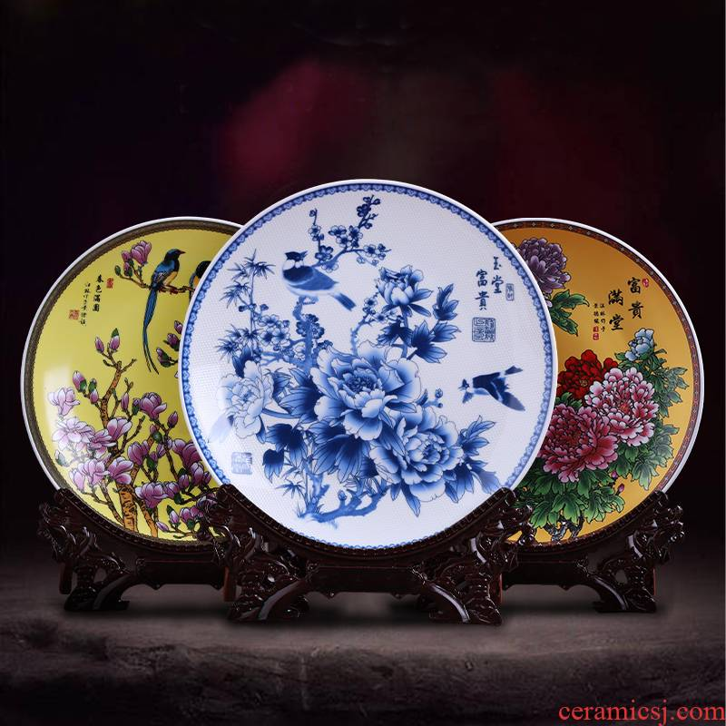 Hang dish of blue and white porcelain of jingdezhen ceramics decoration plate furnishing articles faceplate mesa of Chinese style household decoration arts and crafts