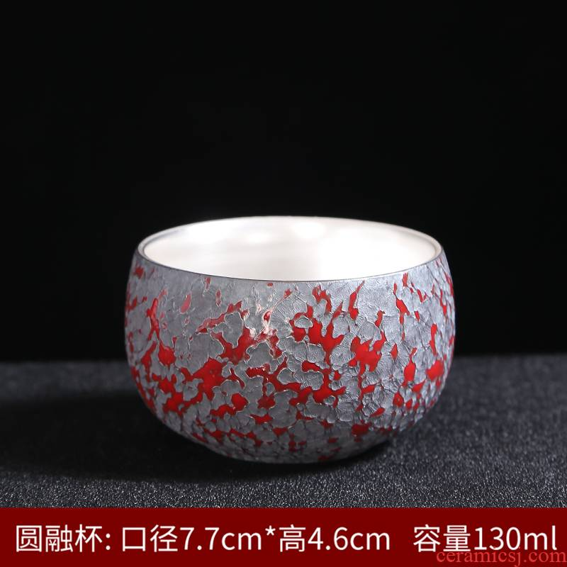Marigold yellow colored enamel cup master cup single cup small ceramic sample tea cup cup hand - made gold silver 999