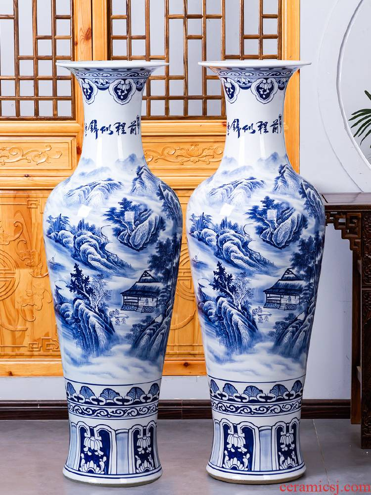Jingdezhen ceramic hand - made large blue and white porcelain vase landscape painting Chinese style hotel furnishing articles to heavy large living room
