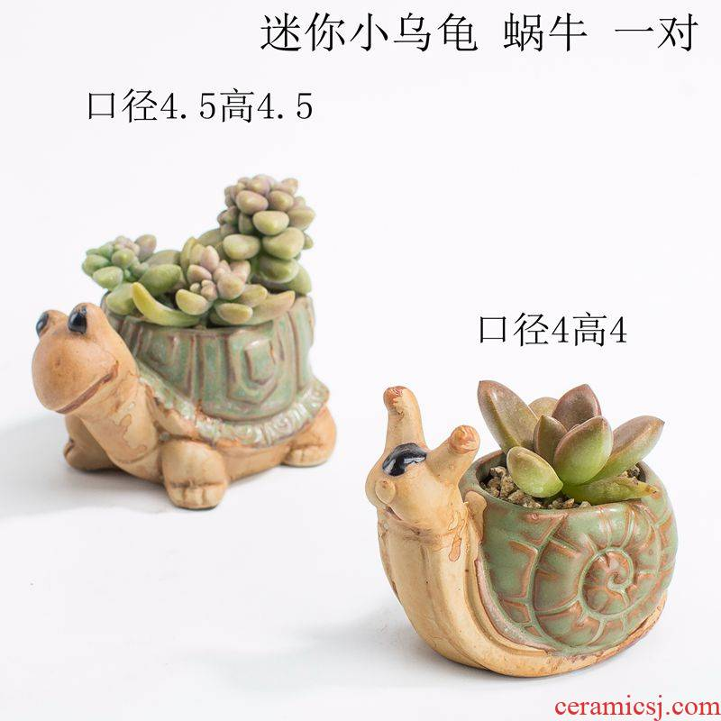 Europe type restoring ancient ways in the green large caliber tortoise q bird hedgehog rabbit meat plant POTS ceramic furnishing articles
