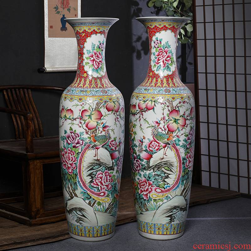 Jingdezhen ceramic floor big vase archaize manual powder enamel sitting room furnishing articles furnishing articles hotel decoration