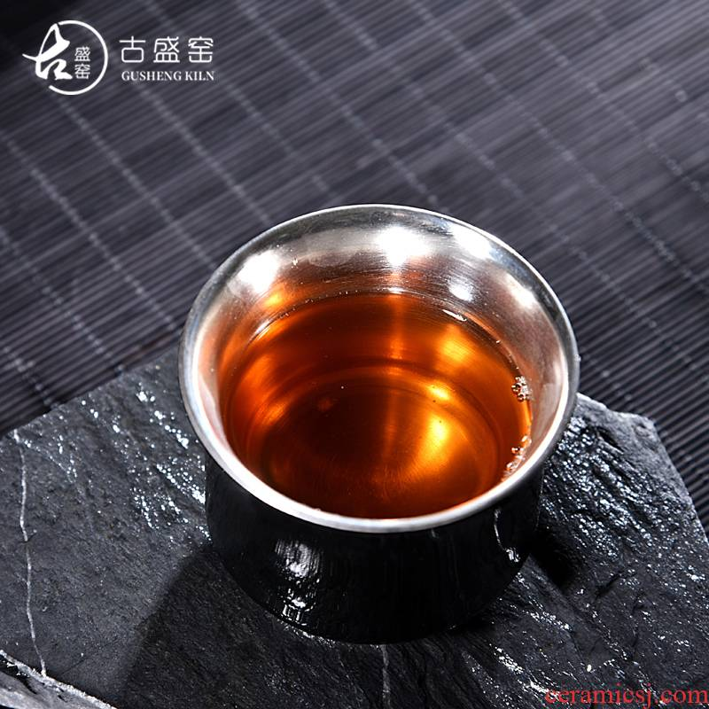 The ancient sheng up new koubei coppering. As silver 99 pure silver tea a single cup of kung fu master cup ceramics, black jade cup by hand