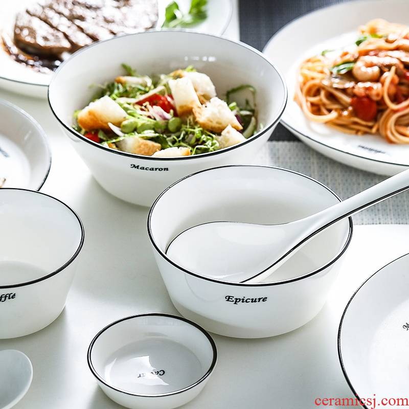 Qiao mu MLJ one feeds single home eat rice bowl ceramic tableware chopsticks sets single dishes I contracted northern Europe