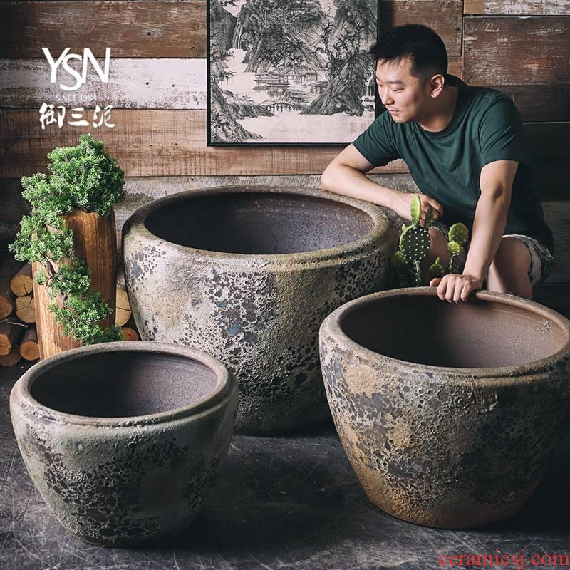 Royal three clay ceramic VAT coarse pottery retro manual cylinder tank aquarium goldfish bowl lotus garden balcony furnishing articles