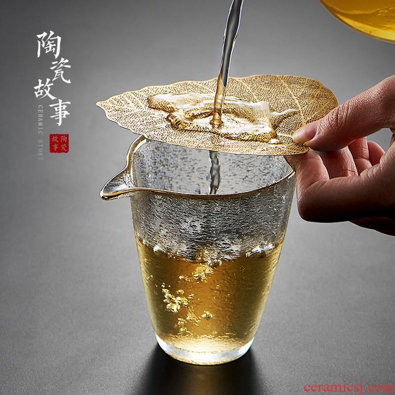 Ceramic creative story bodhi leaf) filter unit) copper tea tea strainer kung fu tea accessories