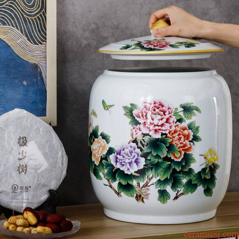 Jingdezhen pastel caddy fixings checking ceramic storage tank with cover Chinese medicine tin with grain furnishing articles in the living room