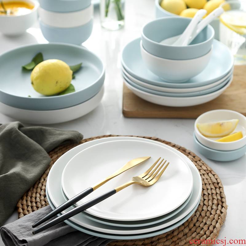 The dishes suit household to eat bread and butter plate combination Japanese noodles soup bowl jingdezhen ceramics tableware northern wind