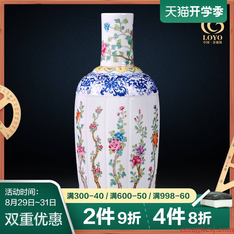 Jingdezhen ceramic vase famous blue and white color bucket hand - made porcelain of the sitting room of Chinese style household flower arrangement of TV ark, furnishing articles