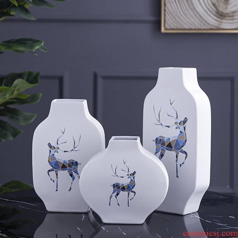 Nordic light key-2 luxury furnishing articles home decoration ceramic desktop sitting room porch TV ark, wine floret bottle decoration
